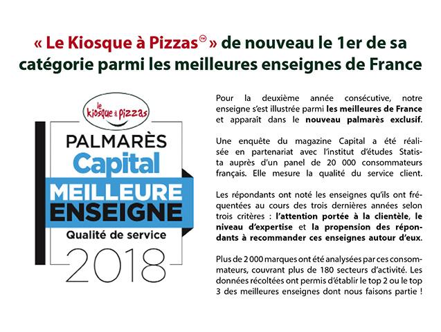 Le kiosque à pizzas, meilleure enseigne qualité de service 2018 dans le palmarès Capital